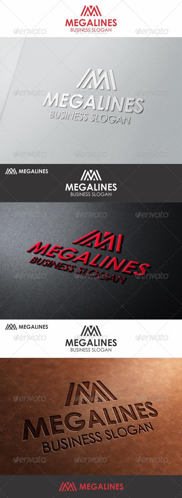 Mega Lines M Logo - Letters Logo Templates