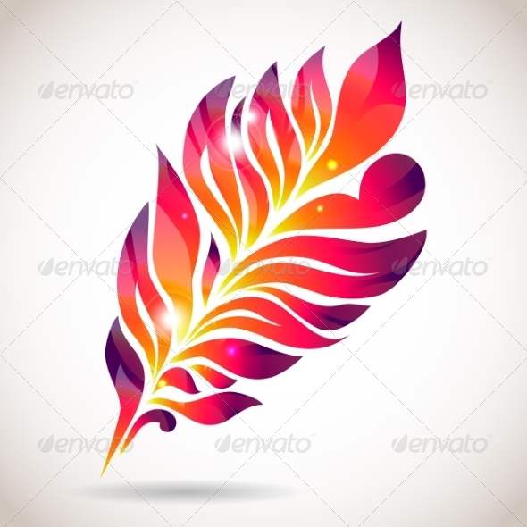 GraphicRiver Abstract Colorful Isolated Pink Feather 7508778