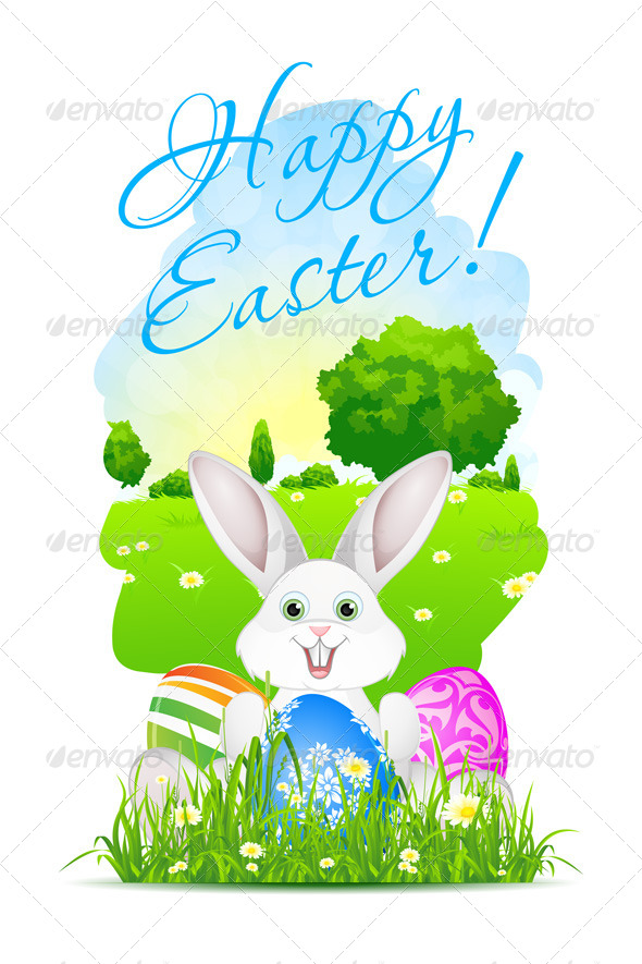 Easter Card with Landscape Rabbit and Eggs