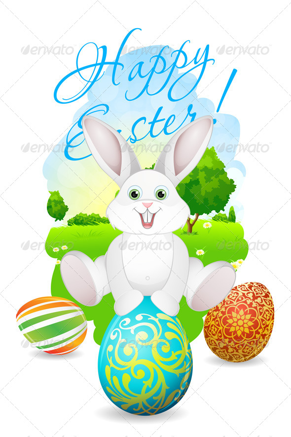 GraphicRiver Easter Card with Landscape Rabbit and Eggs 7508963
