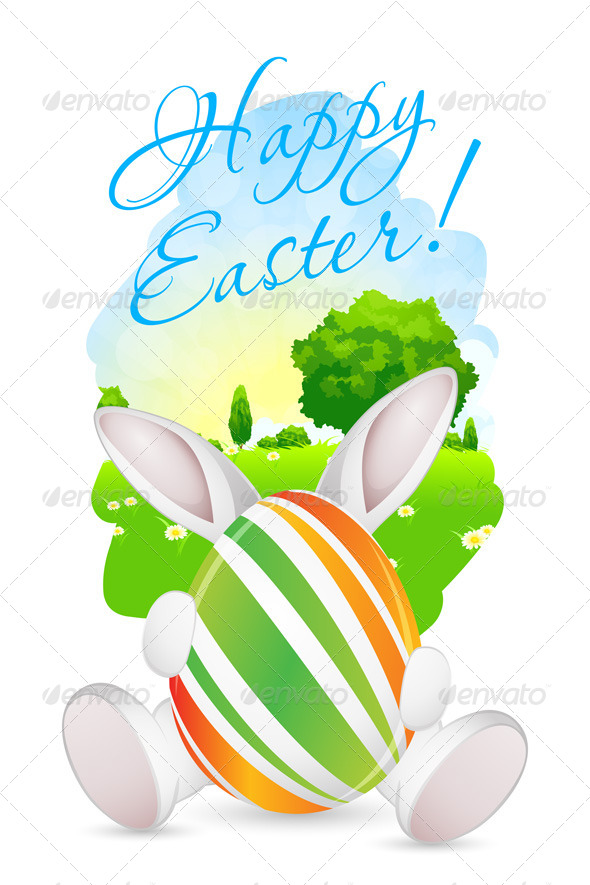 GraphicRiver Easter Card with Landscape Rabbit and Egg 7509014