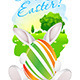 Easter Card with Landscape, Rabbit and Egg