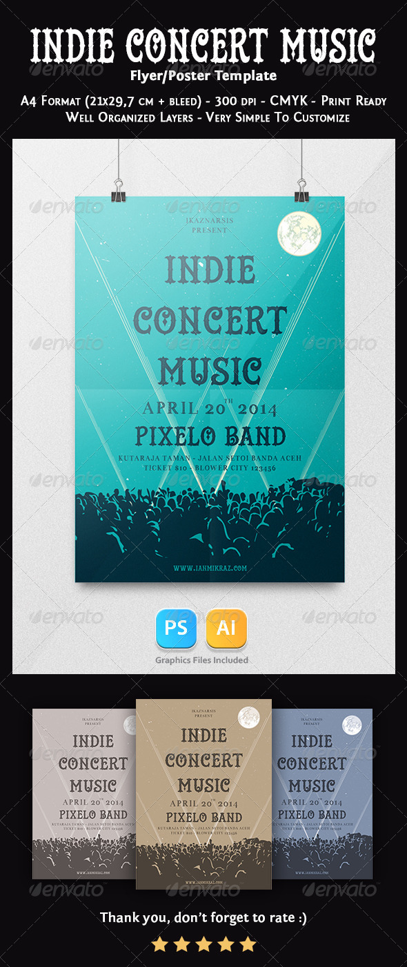 Indie Concert Music Flyer Template