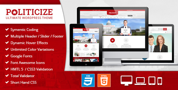 ThemeForest Politicize Political Responsive HTML5 Template 7384946
