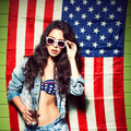 beautiful sexy long haired girl against american flag - PhotoDune Item for Sale