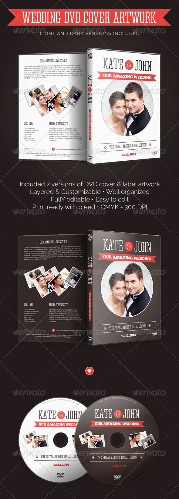 GraphicRiver Wedding DVD Cover With Disc Label 7510460