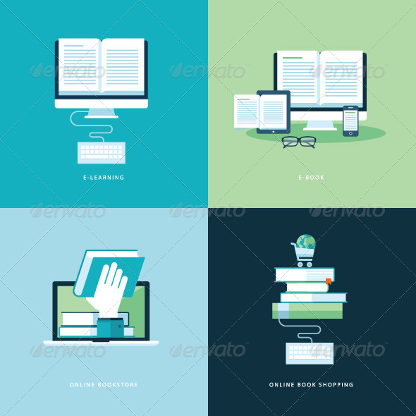 GraphicRiver Flat Design Concept Icons for Online Book 7510646