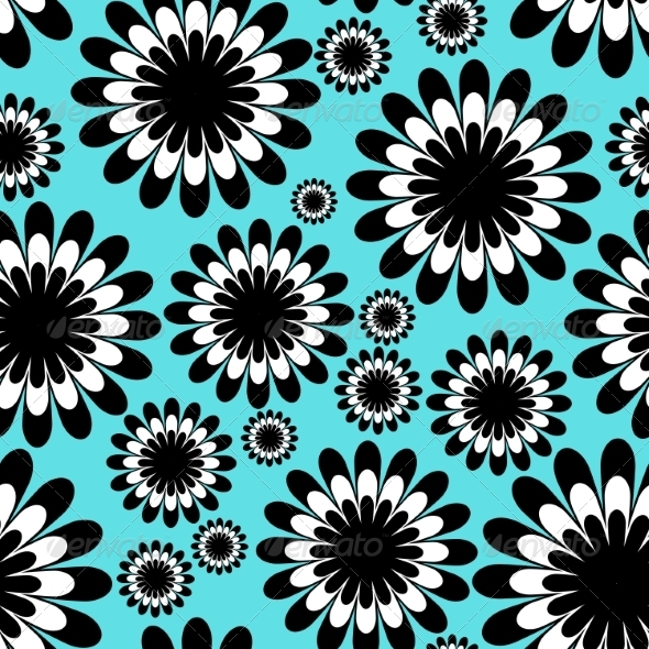 GraphicRiver Abstract Monochrome Floral Seamless Pattern 7510654