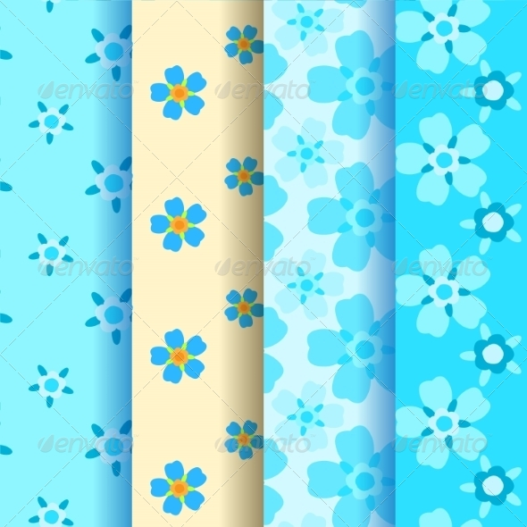 GraphicRiver Set of 4 Forget-Me-Not Seamless Pattern 7510660