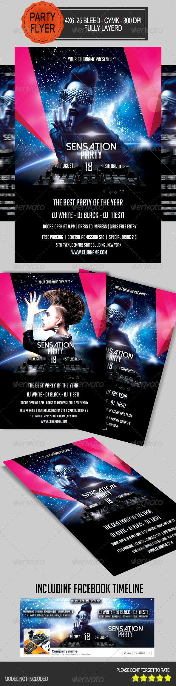 GraphicRiver Sensation Party Flyer 7508053