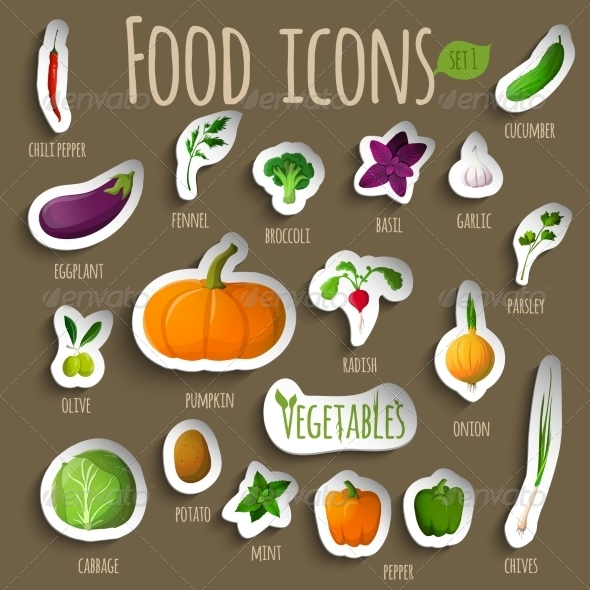GraphicRiver Vegetable Stickers Set 7511130