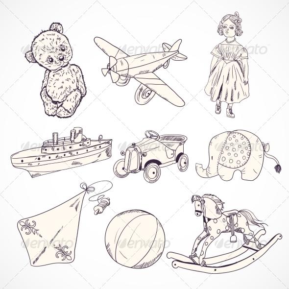 GraphicRiver Toys Sketch Icons Set 7511138