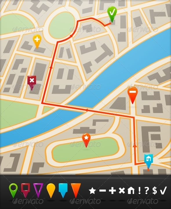 GraphicRiver City Map with Navigation Icons 7511157