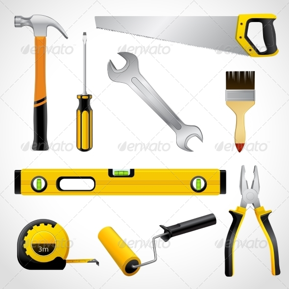 GraphicRiver Realistic Carpenter Tools Icons Collection 7511170