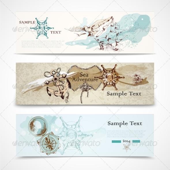 GraphicRiver Sea Horizontal Nautical Design Banners Set 7511183