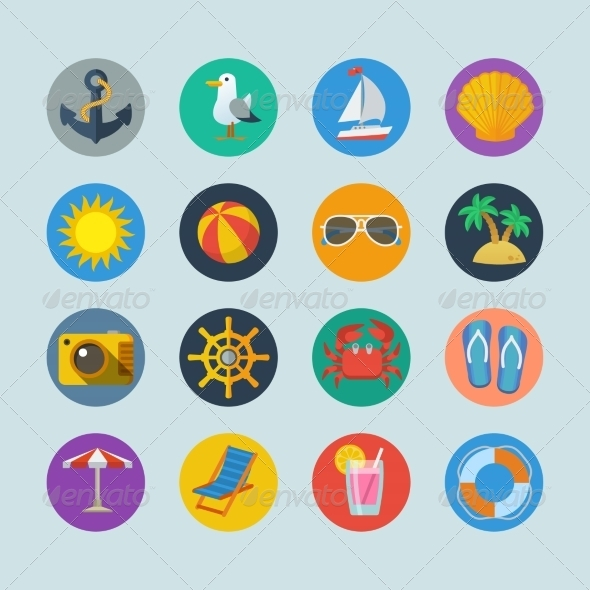 GraphicRiver Summer Sea Holidays Icons 7511211