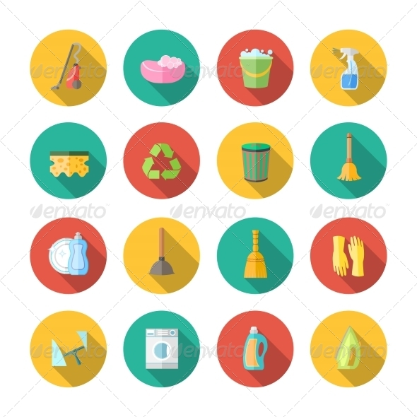 GraphicRiver Cleaning Icons Flat Set 7511214