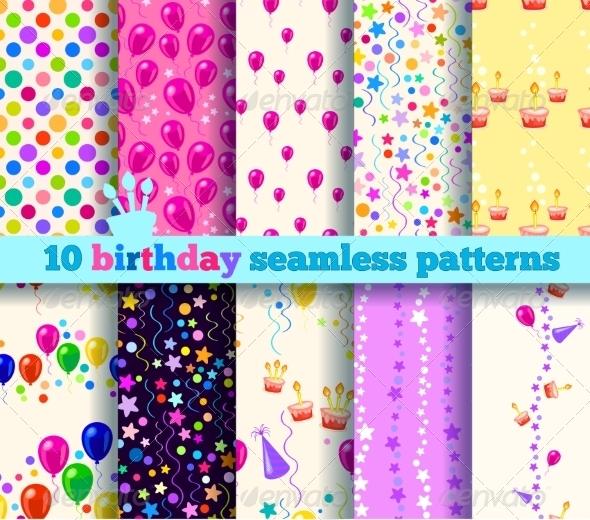 GraphicRiver Ten Birthday Seamless Pattern 7511237