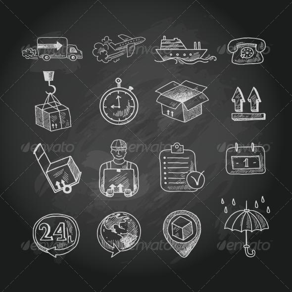GraphicRiver Logistic Chalk Board Icons Set 7511241