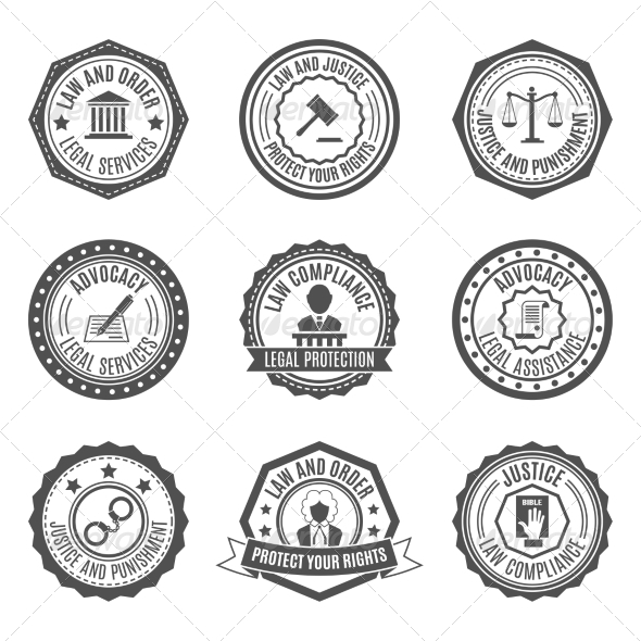 GraphicRiver Law Labels Set 7511278