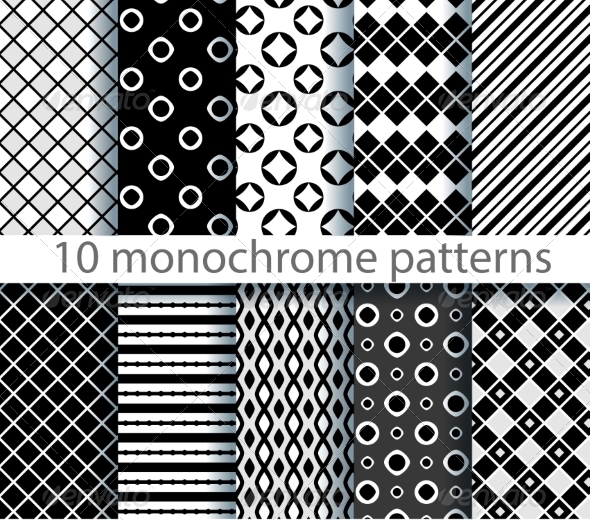 GraphicRiver Ten Seamless Monochrome Pattern 7511280