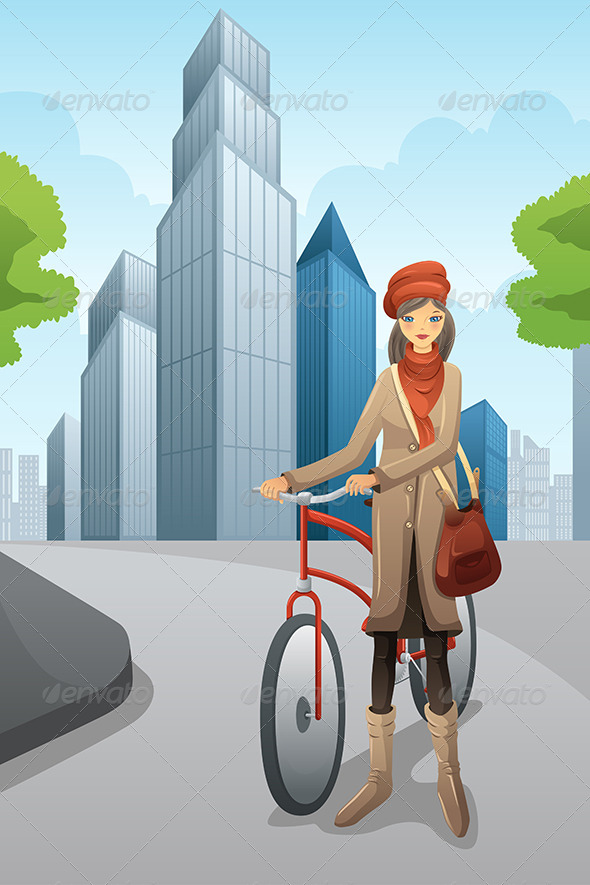 Woman with Bike in the City