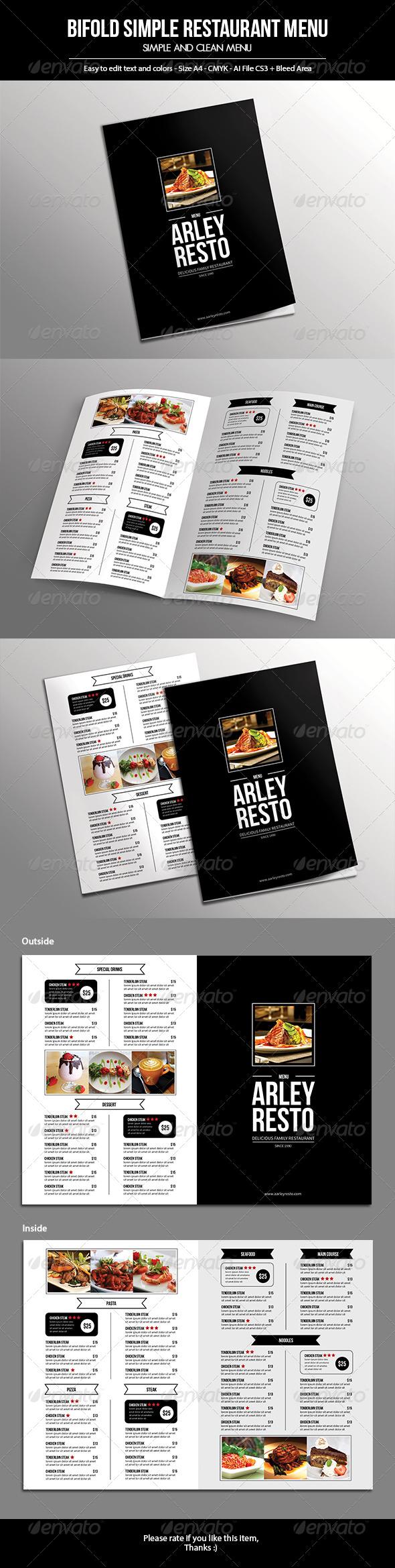 GraphicRiver Bifold Simple Restaurant Menu 7511716