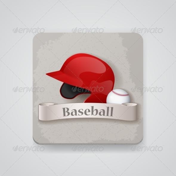 GraphicRiver Baseball Helmet and Baseball Icon 7512176