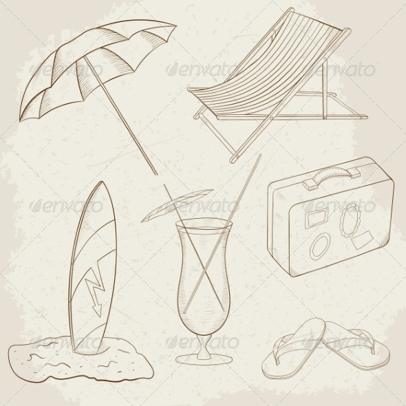 GraphicRiver Summer Holiday Vector Hand Drawn Icons 7512178