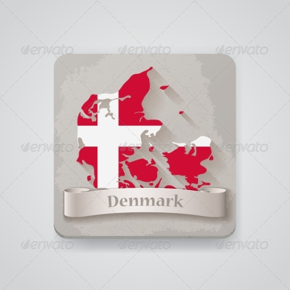 Icon of Denmark Map with Flag