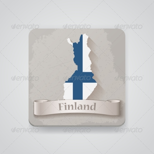 Icon of Finland Map with Flag