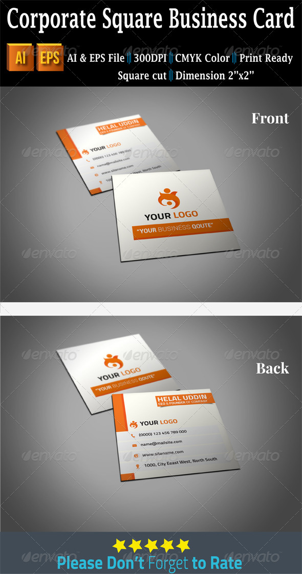 GraphicRiver Corporate Square Business Card 7512289