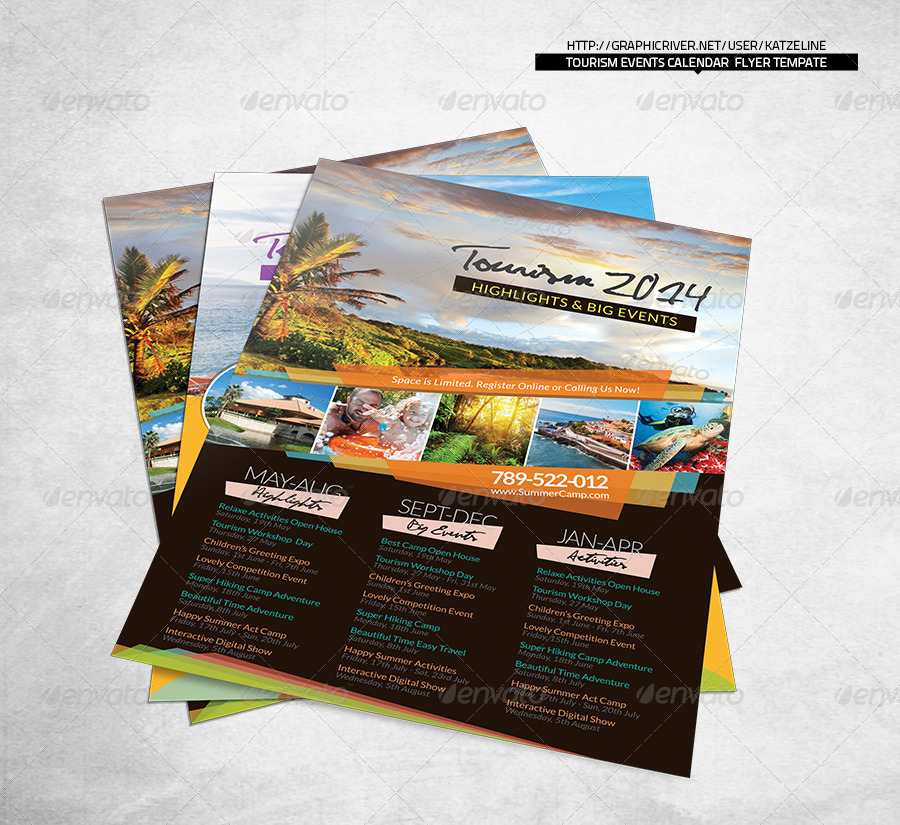 Tourism Events Calendar Flyer Template by katzeline – Calendar Flyer Template