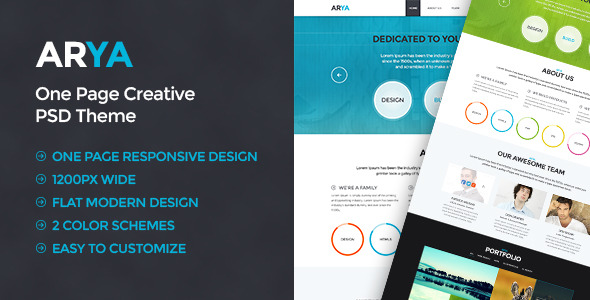 ARYA - A One Page Creative PSD Theme