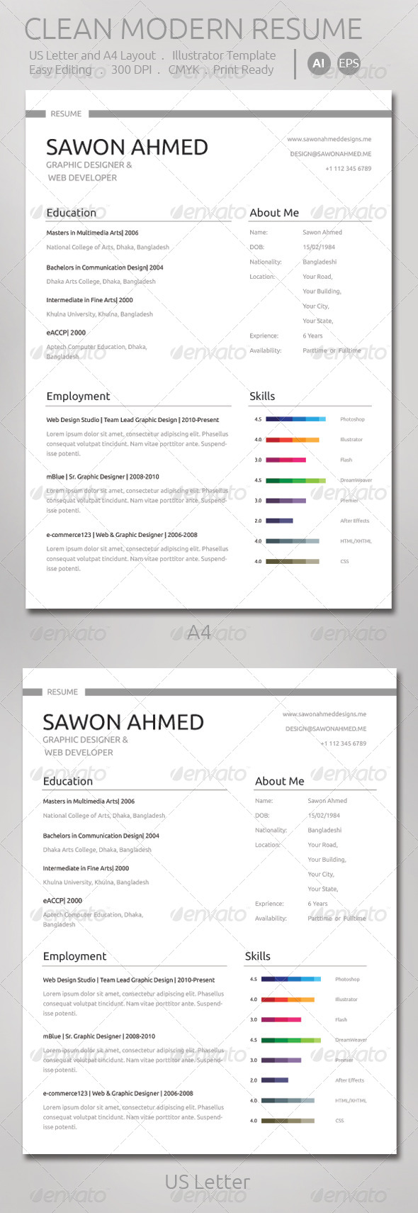 GraphicRiver Clean Modern Resume 7512634