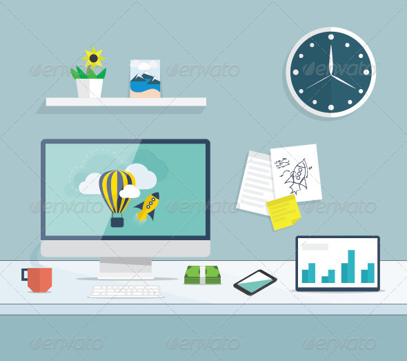 GraphicRiver Flat Desktop Office Vector Concept 7512766