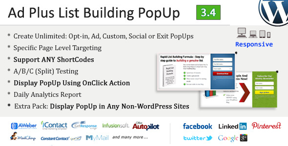 Plus List Building popup Lumikha ng Ad, Custom, Exit popup Social Level Specific Page Pagpuntirya Support ANUMANG Testing shortcode Display popup Paggamit Isumbong Daily Analytics onclick Action Extra Display popup Anumang Sites tumutugon Infu4onit Autcpilot itCct Facebook Linked Pintee.s1 iU.r