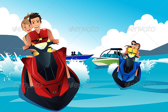 GraphicRiver People Riding Jet Ski 7512823