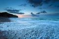 Atlantic ocean coast in dusk