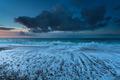 Atlantic ocean waves at sunset