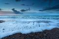 stormy ocean in dusk