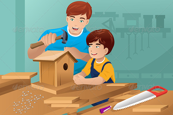 GraphicRiver Father Son Making a Birdhouse 7512840