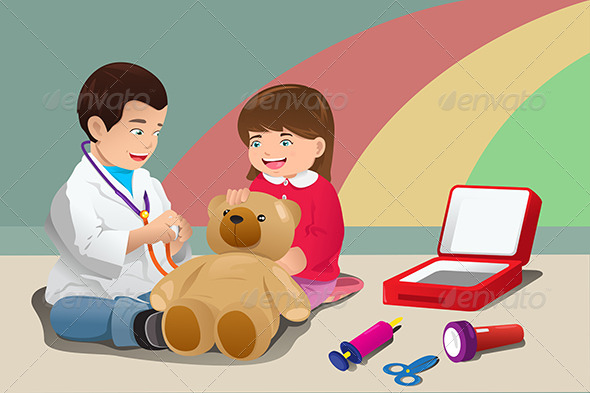 GraphicRiver Kids Playing Doctor 7512961
