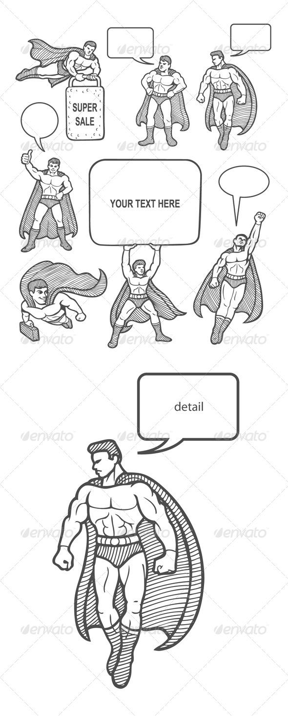 GraphicRiver Male Superhero Sketches 7513607
