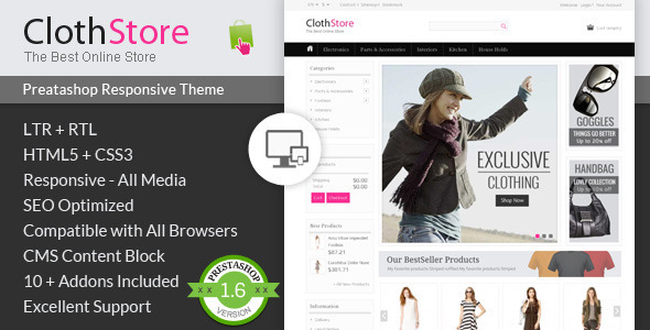 ClothStore Prestashop Responsive Theme