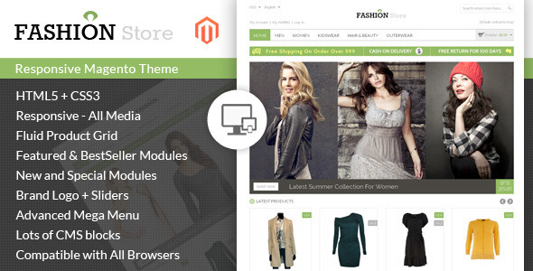 ThemeForest Fashion Store Responsive Magento Theme 7513782