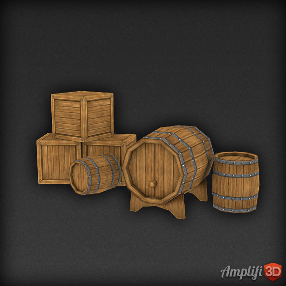 3DOcean Low Poly Barrel and Cask Set 7513817