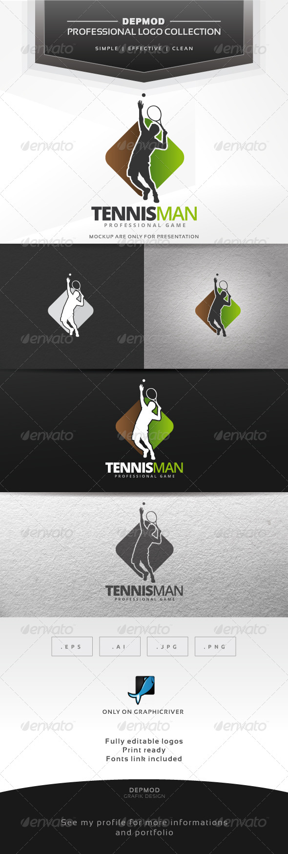 GraphicRiver Tennisman Logo 7514215