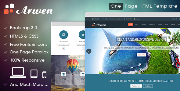 ThemeForest Arwen One Page HTML Template 7451218