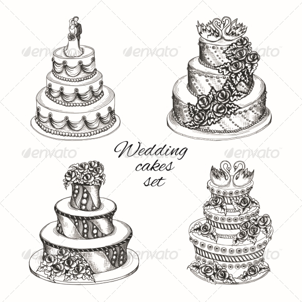 GraphicRiver Wedding Cakes Set 7514232